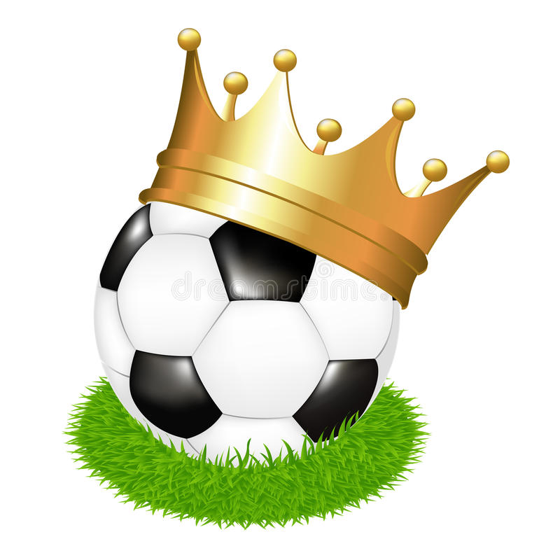 Soccer Ball On Grass With Crown. Vector vector illustration