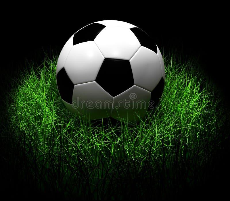 Soccer Ball on Grass 3D illustration royalty free illustration