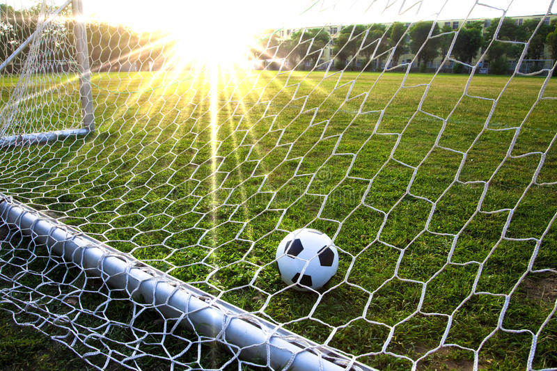 A soccer ball in a grass field royalty free stock photos