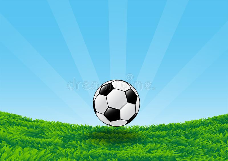 Soccer Ball on Grass Field with blue sky-Vector Illustration stock illustration