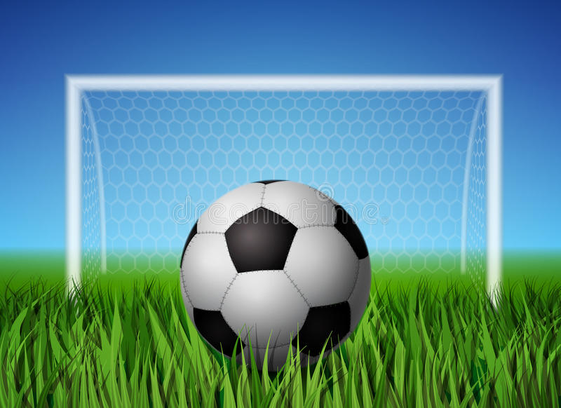 Soccer ball and grass field. Realistic soccer ball and grass field with gates for football background poster template vector illustration vector illustration
