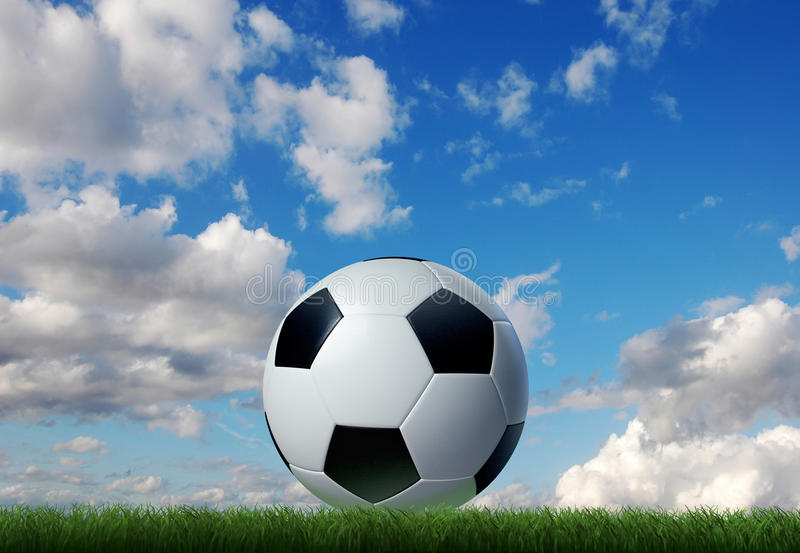 Soccer ball on grass with sky and clouds on background. vector illustration