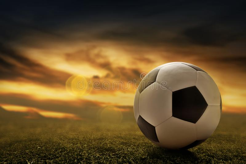 Soccer ball on grass at sunset. Soccer ball on the grass at sunset royalty free stock photos