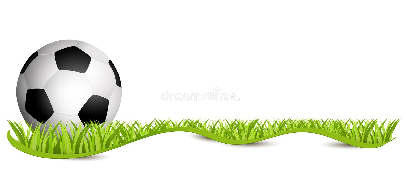 Soccer ball on green field. Football 2018 - Fussball auf Rasen mit Schleifenband freigestellt. stock illustration