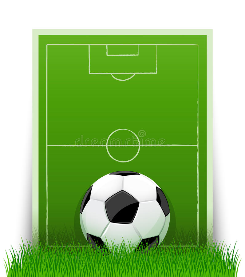Soccer ball on the green field with grass royalty free illustration