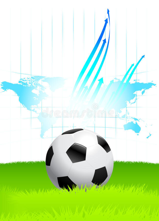 Soccer Ball on Green Field with World Map stock illustration