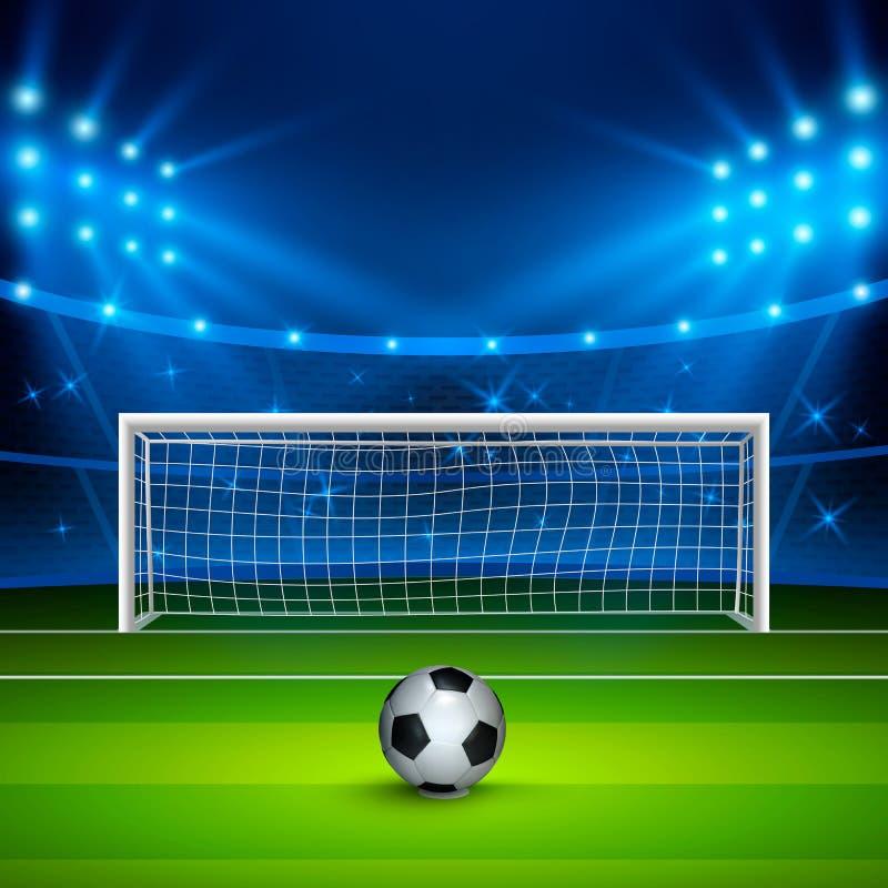 Soccer ball on green football field on stadium, arena in night illuminated bright spotlights. Vector illustration stock illustration