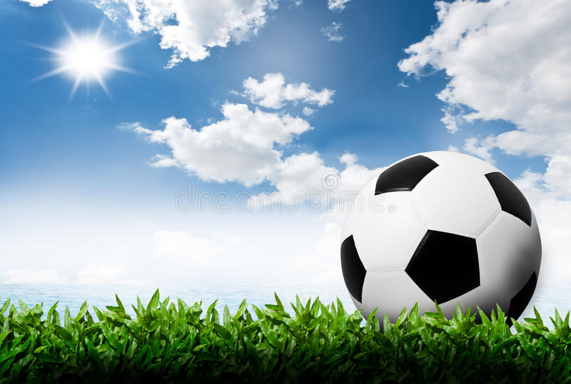 Soccer Football On Green Field With Blue Sky Background: Soccer Ball On Green Grass Stock Photo. Image Of