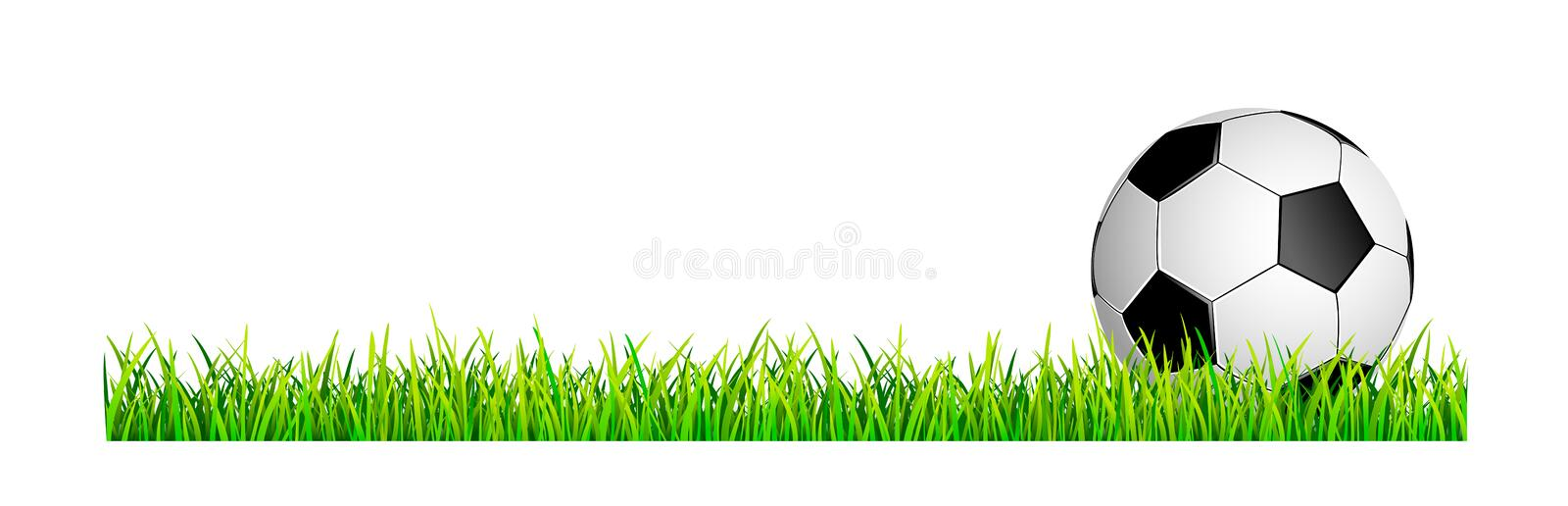 Soccer ball on a green grass lawn royalty free illustration