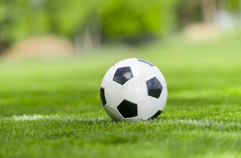 Soccer ball on a green lawn close up stock photo