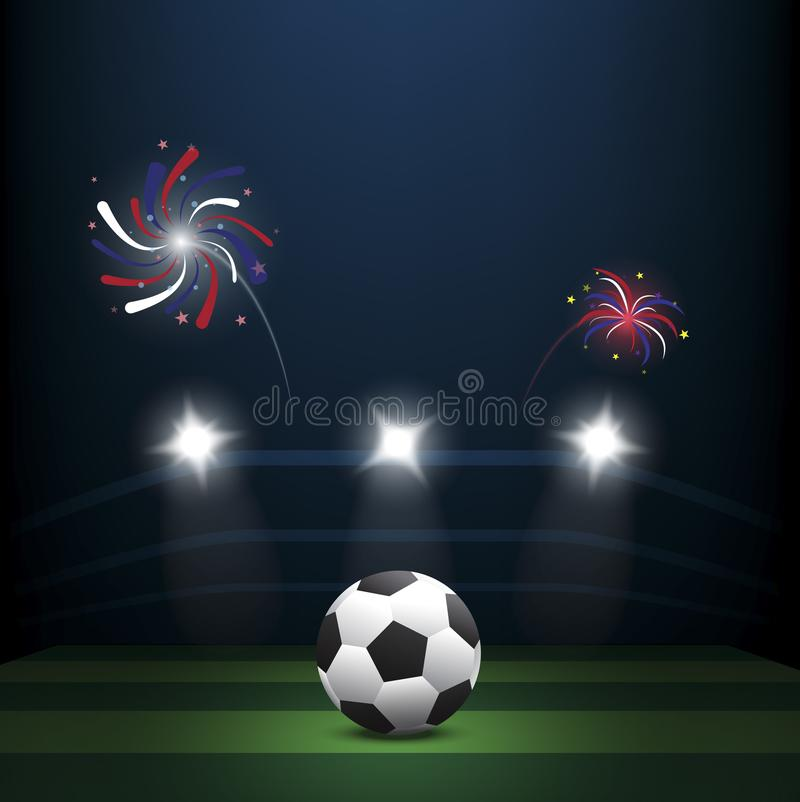 Soccer ball on green lawn with firework stock illustration
