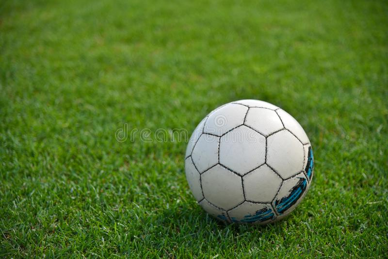 Soccer ball on the green lawn of a football field royalty free stock photos