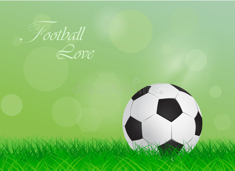 Soccer ball on a green lawn royalty free illustration