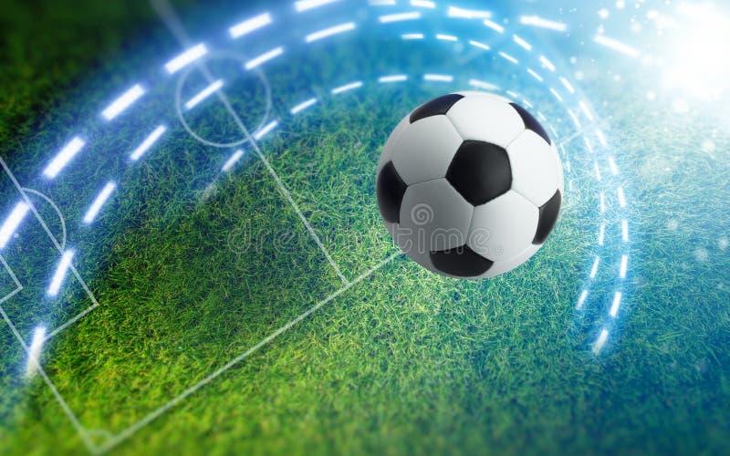 Soccer ball on green soccer stadium. Abstract sports background - soccer ball on green stadium with white layout. Bright spotlight illuminates soccer field royalty free stock images