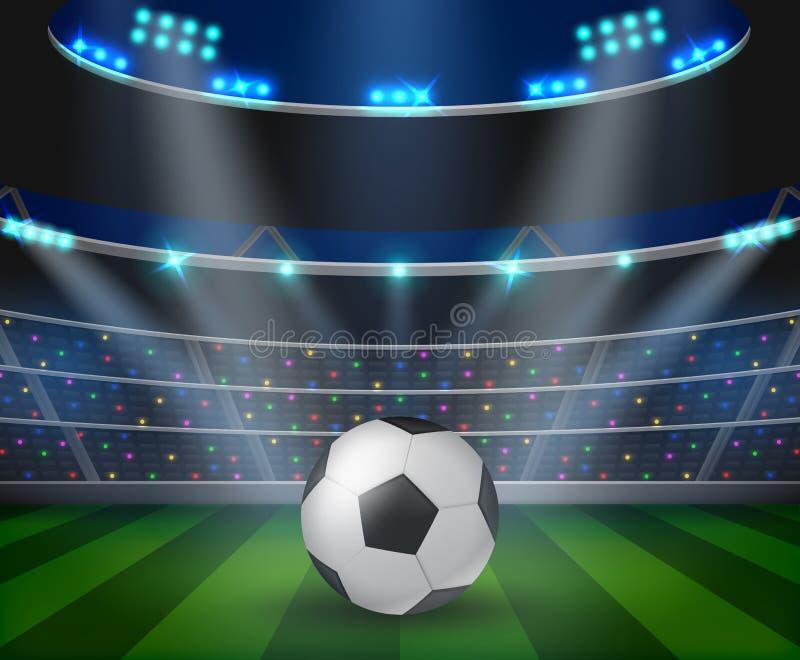 Soccer ball on green stadium, arena in night illuminated bright spotlights. royalty free illustration