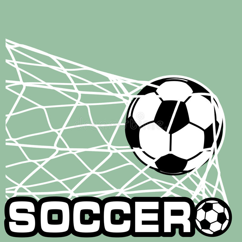 Soccer Ball in a grid of gate. On the image is presented soccer Ball in a grid of gate royalty free illustration