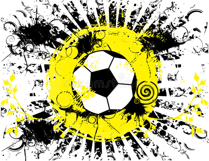 Soccer ball grunge banner. Vector illustration of a soccer ball in black and white with yellow accents. Rays come out of it and it has flourishes and ink royalty free illustration