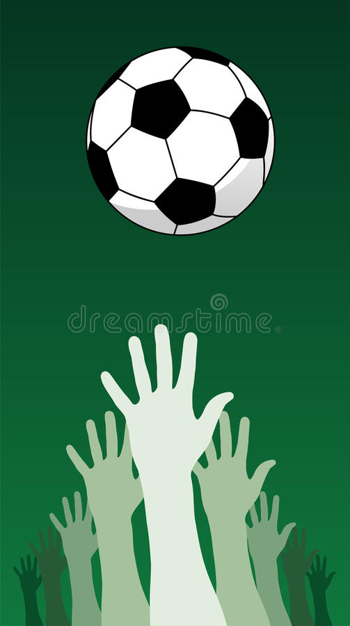 Soccer ball and hands. Hands trying to catch a soccer ball on green background royalty free illustration