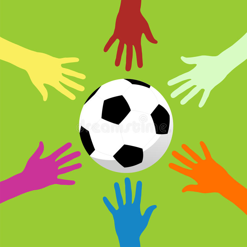 Soccer ball and hands around. Multicolor hands trying to catch a soccer ball on apple green background royalty free illustration