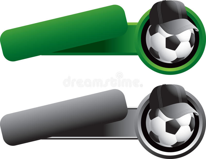 Soccer Ball With Hat On Tilted Banner Templates Stock Images