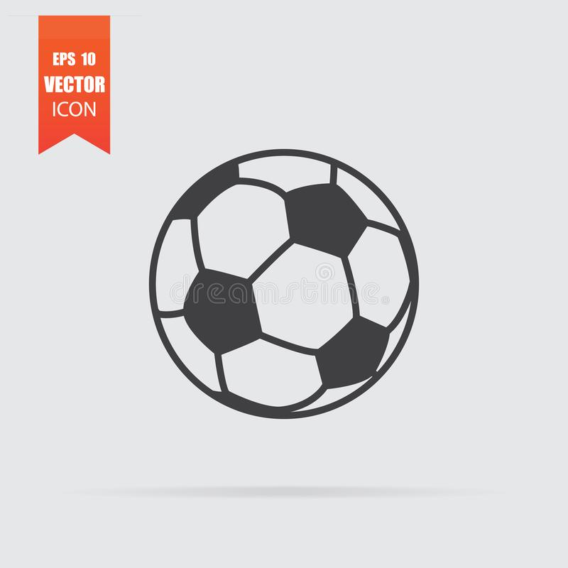 Soccer ball icon in flat style isolated on grey background royalty free illustration