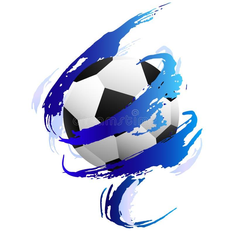 Soccer ball inside blue paint smears. Soccer ball ine blue paint smears on the white background stock illustration