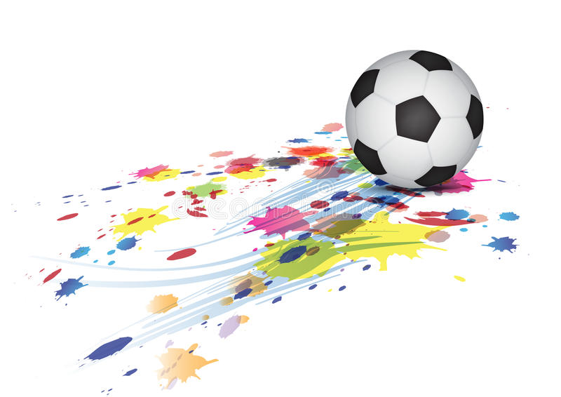 Soccer Ball And Ink Splatter Stock Image
