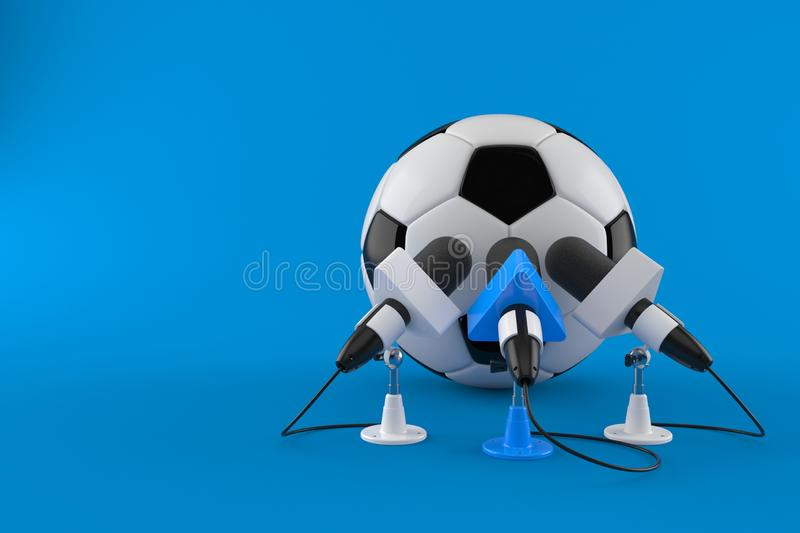 Soccer ball with interview microphones. Isolated on blue background. 3d illustration royalty free illustration