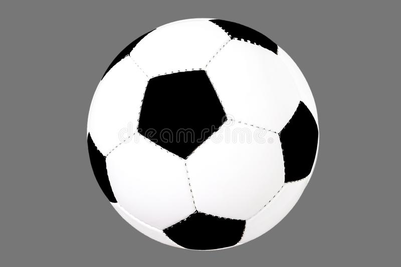 Soccer ball isolated, cut out, black and white classic ball, football free, on grey background royalty free stock images