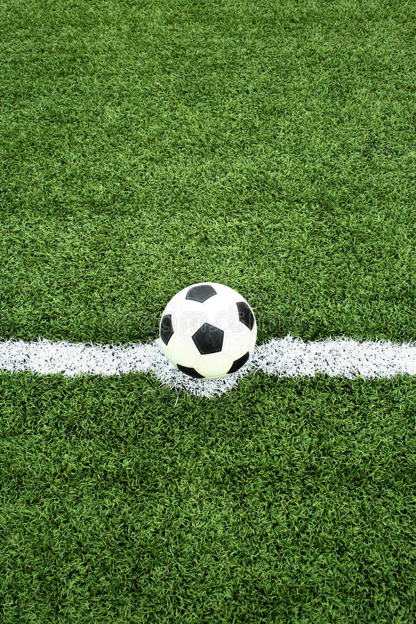 Soccer ball on kick point. The soccer ball on kick point stock images