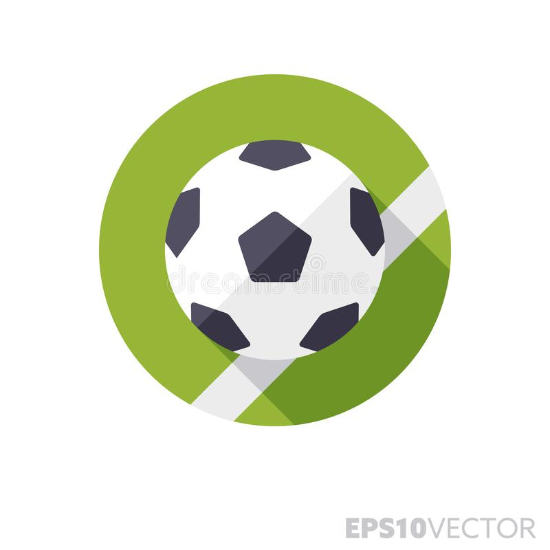 Soccer ball on lawn flat design long shadow color vector icon. Soccer ball on lawn flat design round icon. Color symbol of team sports and ball games. Long stock illustration