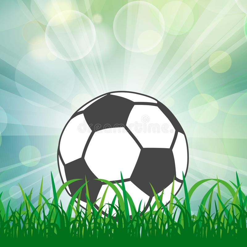 Soccer ball on lawn in the sunlight rays stock illustration