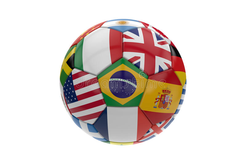 Soccer ball with many flags; 3d rendering royalty free illustration
