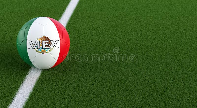 Soccer ball in mexican national colors on a soccer field. Copy space on the right side - 3D Rendering royalty free illustration