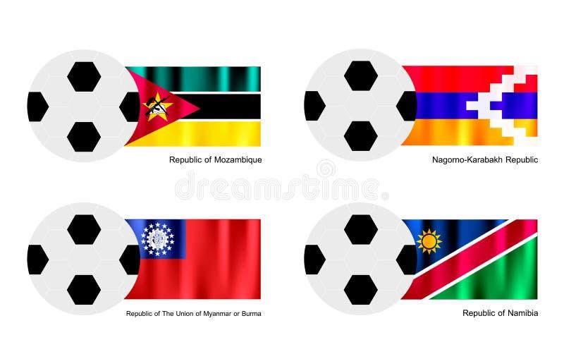 Soccer Ball With Mozambique, Nagorno Karabakh, Mya Royalty Free Stock Image