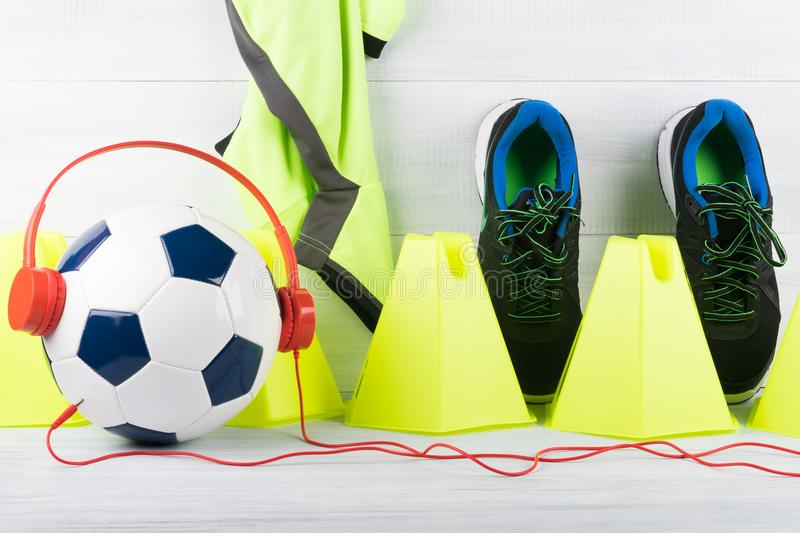 Soccer ball and music for training stock images