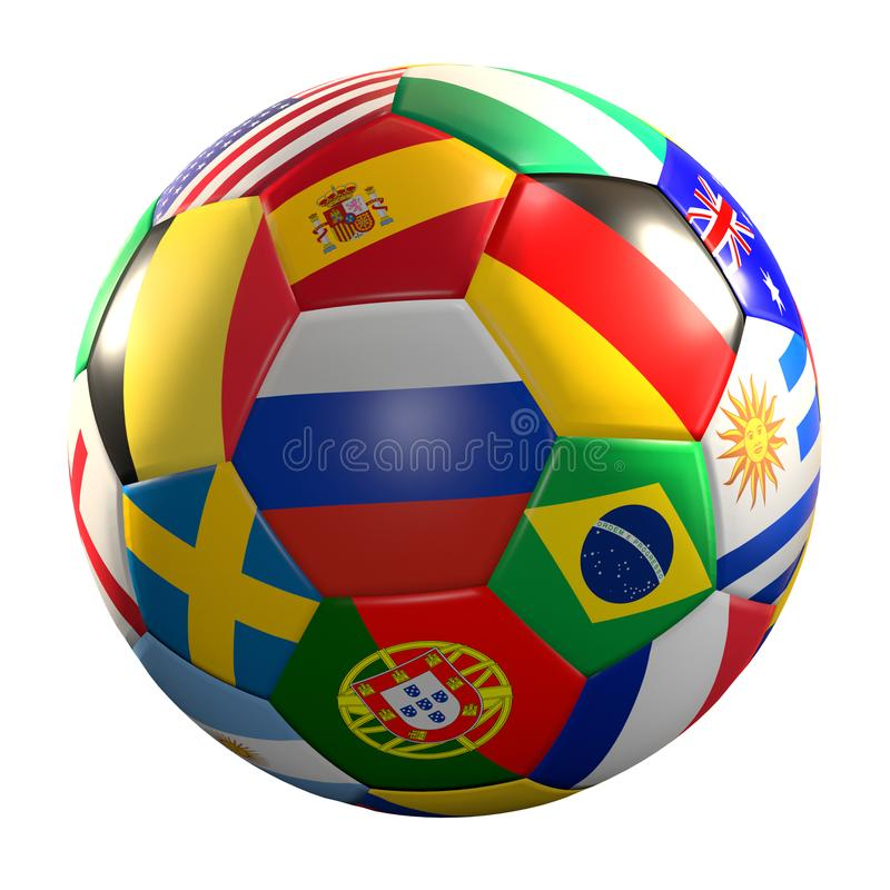 Soccer ball with national flags 3d rendering isolated ball stock illustration