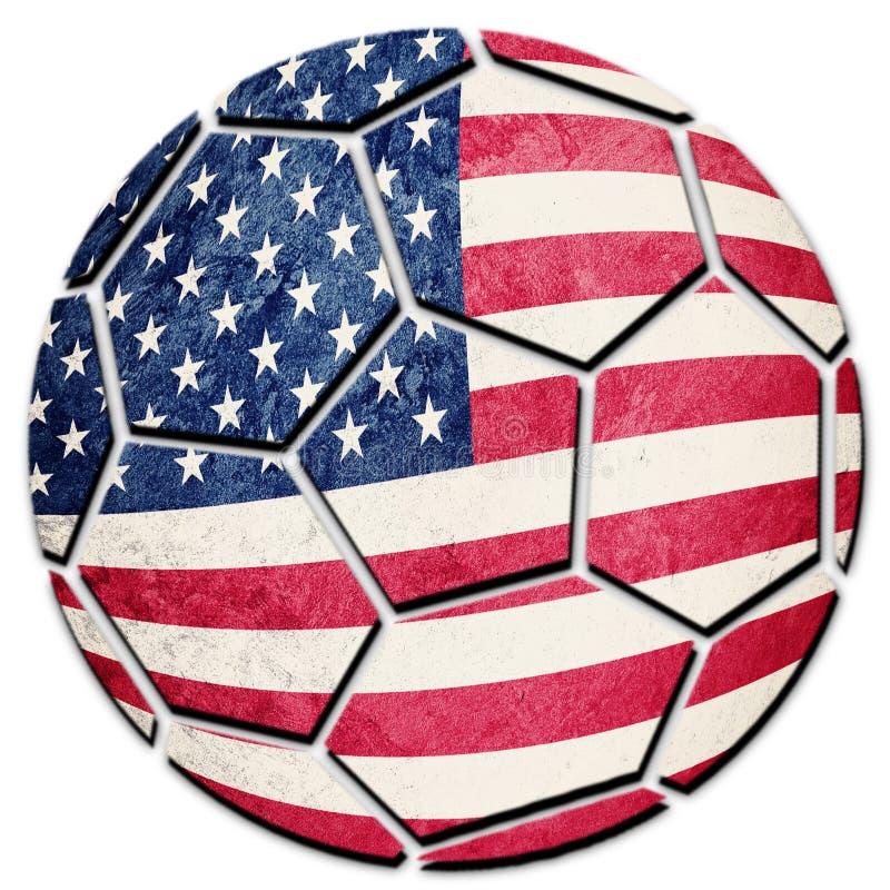 Soccer ball national USA flag. American football ball. stock images
