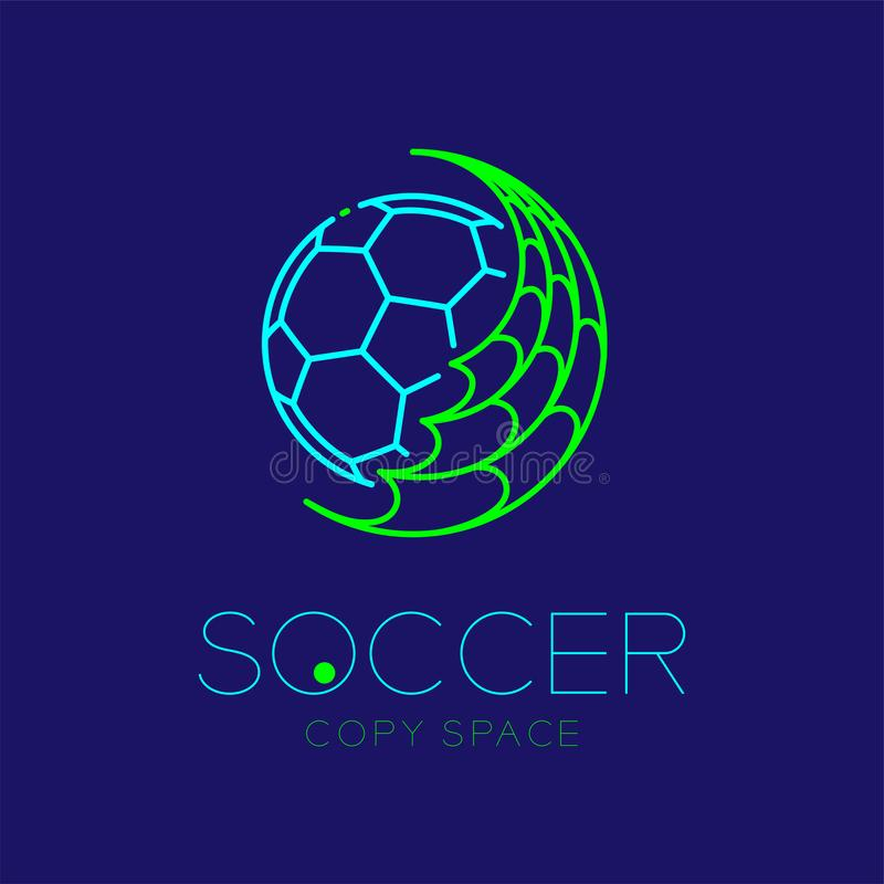 Soccer ball with net logo icon outline stroke set dash line design illustration. Isolated on dark blue background with soccer text and copy space royalty free illustration