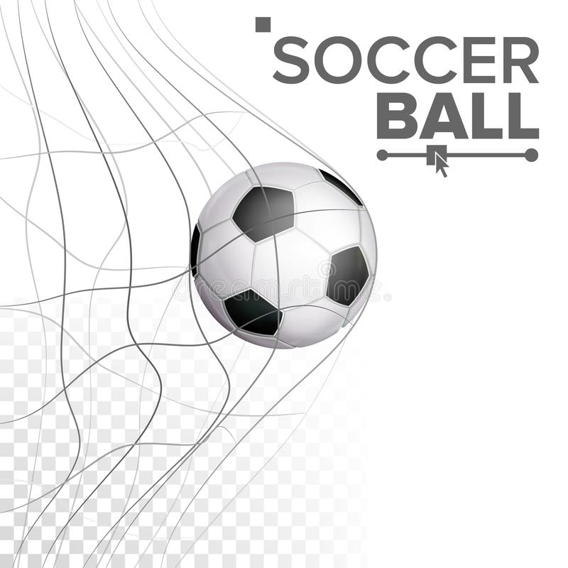 Soccer Ball In Net Vector. Hitting Goal. Sport Poster, Banner, Brochure Design Element. Isolated On Transparent. Soccer Ball In Net Vector. Hitting Goal. Sport vector illustration