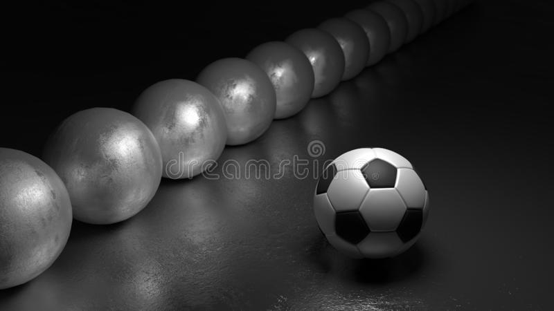 Soccer ball next to a row of spheres standing out from the crown concept royalty free stock photos