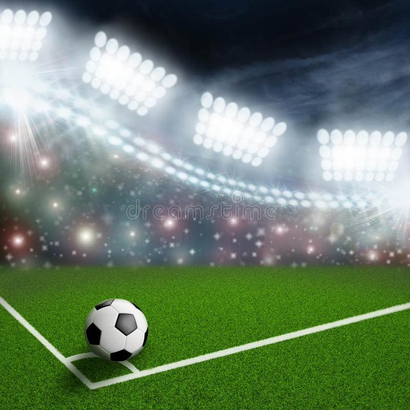 Free Soccer Ball On The Green Field Royalty Free Stock Image - 48995696