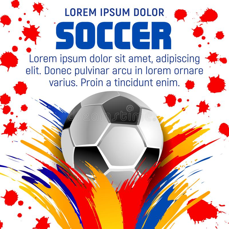 Football or soccer ball poster with paint splatter royalty free illustration