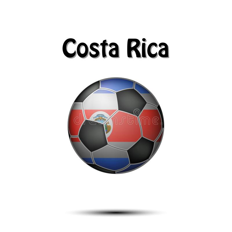 Flag of Costa Rica in the form of a soccer ball. Soccer ball painted in the colors of the Costa Rica flag. Vector illustration stock illustration