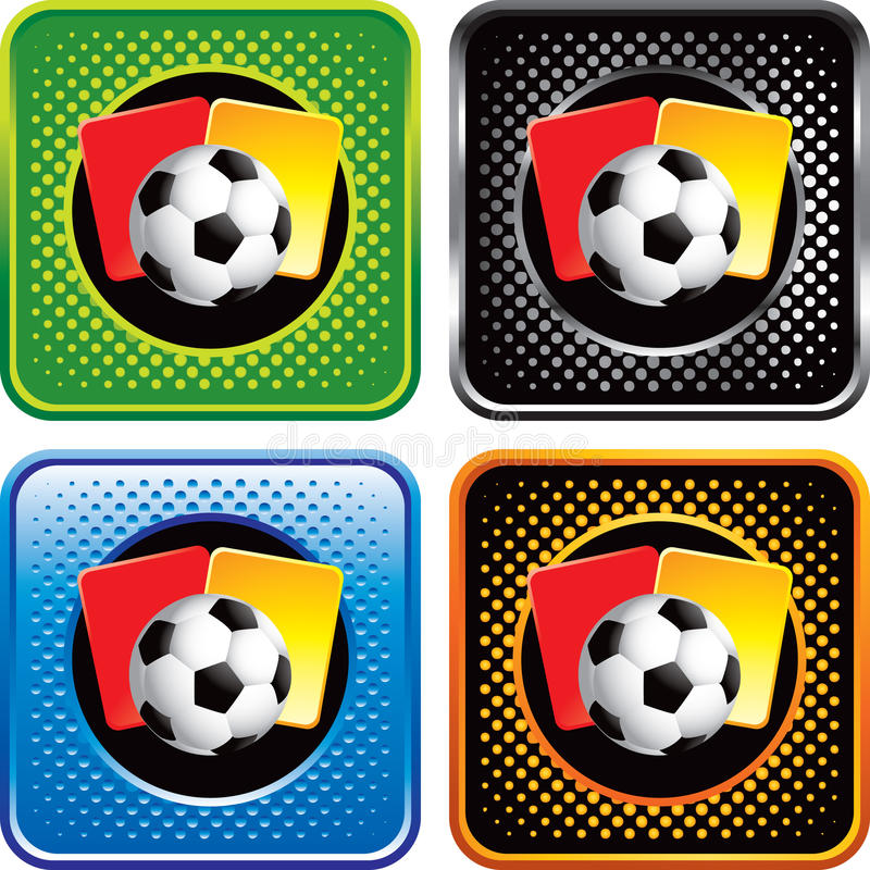 Download Soccer Ball And Penalty Cards On Web Buttons Stock Vector - Image: 11600595