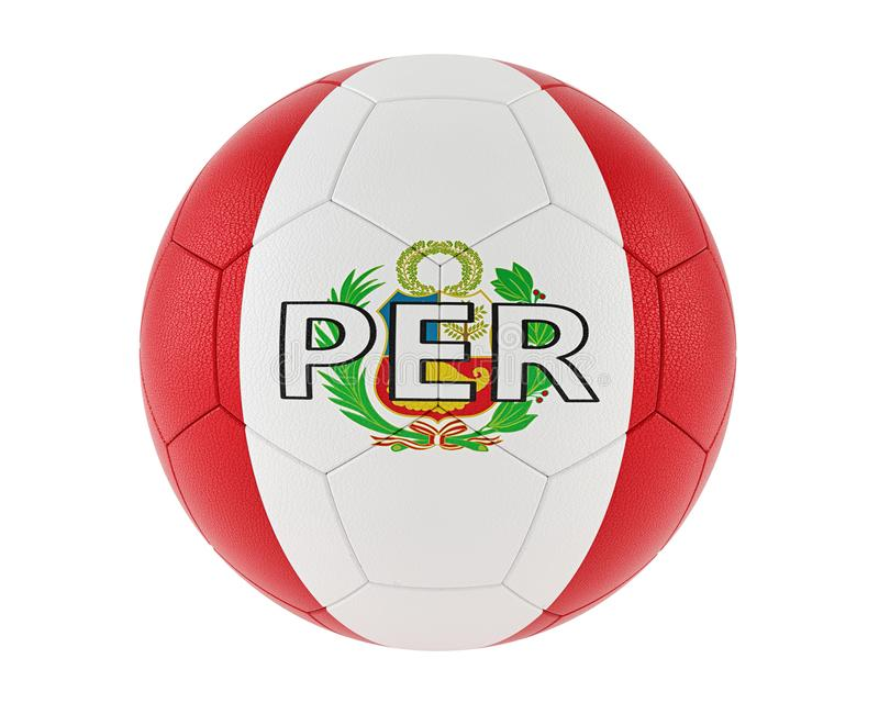 Soccer ball in Peru´s national colors vector illustration