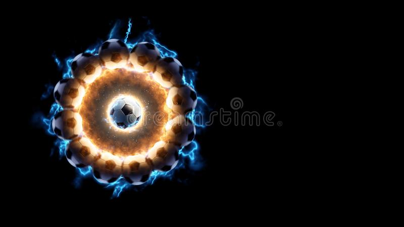 Soccer ball. Power energy fire and current in action around soccer ball. Black isolated stock photography