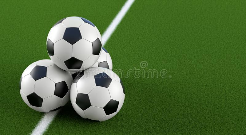 Soccer ball Pyramid on a soccer field royalty free illustration