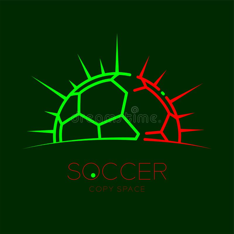 Soccer ball with radius frame logo icon outline stroke set dash line design illustration. Isolated on dark green background with soccer text and copy space royalty free illustration