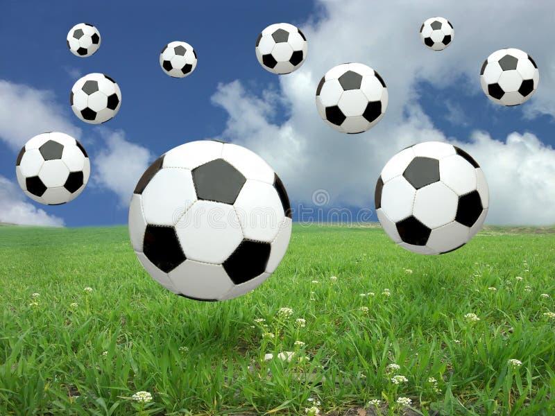 Soccer ball rain royalty free stock images